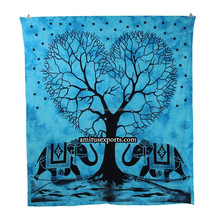 Turquoise Heart Tree Elephant Wall Tapestry Mandla tape Tie & Dye Beach Hanging Tapestries Hippie Manufacturer In India Jaipur