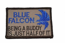 Blue Falcon Being a Buddy - 2x3 Hat Patch Police Military Morale Funny Velcro