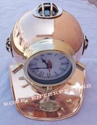 Vintage Diving Helmet/Copper & Brass Divers Helmet with Clock