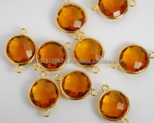 Gold Plated Bulk AAA Honey Beer Quartz Blue Silver Bezel Gemstone Connector