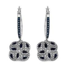 1.05 Carat Genuine Blue Diamond .925 Sterling Silver Earrings