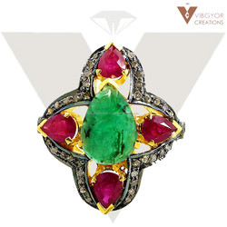 Emerald & Ruby Ring Emerald Ruby Diamond Ring Gold Silver Ruby Ring Silver Jewelry Emerald Gemstone wholesale Jewelry Collection