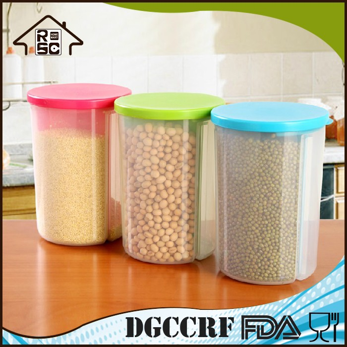 NBRSC Kitchen Divided Plastic Sealed Box Dry Food Storage Crisper Cereal  Container With Lids