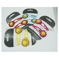 Iron Snap Hair Clips, with Rubber Cabochons, Sun, Mixed Color, 60x26x3mm PHAR-Q051-11