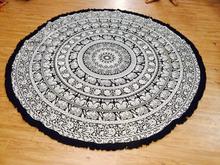 Elephant Print Mandala Tapestry / Round Elephant Mandala Wall Hanging Yoga Mat
