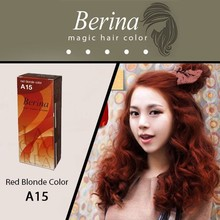 BERINA Permanent Hair Dye Color Fashion Color Cream A15 Red Blonde Color Unisex