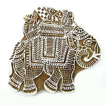 Indian Wooden Elephant Stamp Decorative Hand Carved Printing Blocks PB2514A