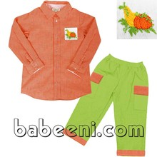Pumpkin hand smocked boy set for Thanksgiving - BC 554