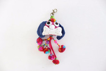Handmade Cotton Little Dog Keychain Fair Trade from Thailand - Pink