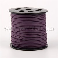 South Korea Wool and PU Leather, Purple, 3x1.5mm, about 100yards/roll LW-H001-107