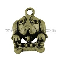 Alloy Pendant Rhinestone Settings, Lead Free and Nickel Free, Dog, Antique Bronze, 23x16x6mm PALLOY-4193-AB-FF