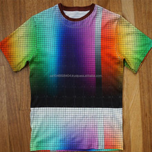 rainbow color sublimation printing t shirt in cotton fabric