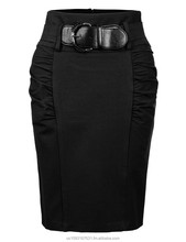 Womens Fitted High Waisted Midi Skirt with Faux Leather Belt (Made in USA)