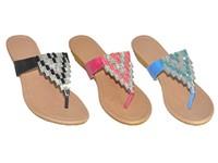 Wholesale Women's Trangle Rhinestones Flip Flop Slip-on Thong Slippers