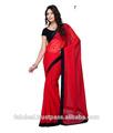 diario normal desgaste sari de color rojo con negro frontera