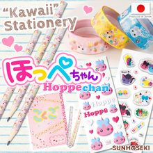 Cute and colorful Hoppe-chan stationary pens and pencils with various designs