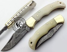 Custom Made Damascus Steel Pocket Folding Knife (S.12)