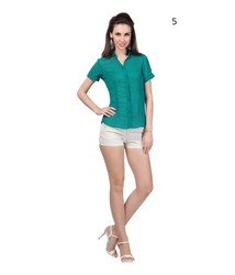 Women Lady Short Sleeve Casual Green Solid Polyester Blouse Shirt Top