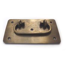 """Latón fianzas - Oval tirón placa Rectangular con bisel 5 """""""