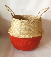 Eco-friendly laundry seagrass basket, foldable seagrass storage basket handmade from Vietnam with good price