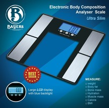 Bayer's Body weight, fat, water, bone mass, BMI, BMR, visceral fat, muscle mass body measuring scale Malaysia Bangladesh