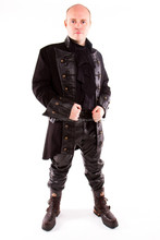 2015 New fashion gothic Steampunk Coat, Mens Gothic Pirate Frock Coat - Leather Look for mens
