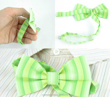 Bow tie made of light striped cotton fabric