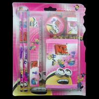 Stationery Set Plastic purse & Pencil & ruler & eraser & pencil with oth & Rubber & Wood & n mixed 220x110mm 36Boxes/Set Sold By