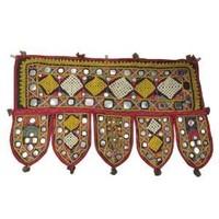 """Vintage Door Window Valance Traditional Door Hanging Bandhanwar Red Topper Handcrafted Ethnic Kutch Embroidery Toran 22"""" X 13"""""""