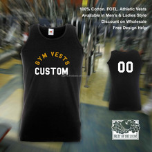 customised black cotton training vest tops workout glass gym