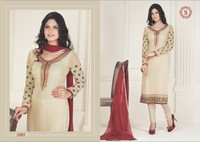 Designer Cream Brasso Straight Long Beautiful salwar kameez