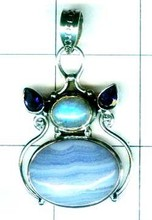 Netural Iolite, Blue Lace Agate Gemstone Silver Jewelry Manufacturer -ss4p353