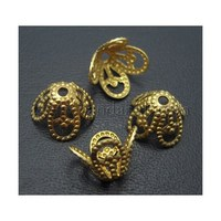 Brass Bead Caps, Lead Free and Cadmium Free, Unplated, Golden, about 8.5mm in diameter, 6mm high, hole: 1mm