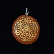 Supplier of Engrave Pendants : Red Jasper Flower of life Pendants
