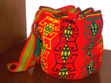 Wayuu Mochila Bag. Red and yellow Color design . Medium Size -STOCK. Handwoven in a single Thread