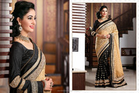 Beige, Black color Brasso,Cotton,Shimmer Fabric,Viscose Georgette Saree