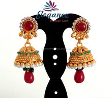 Wholesale South indian One gram gold Jhumka earring-Indian Traditional jhumka earring-Bollywood style jhumka earring