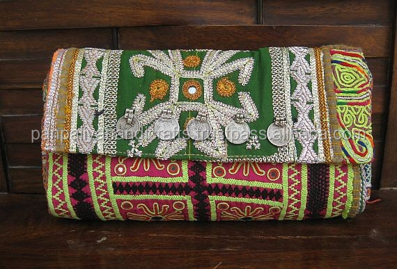 Vintage Indian Embroidered Colorful Clutch / Tribal Banjara Hand Embroidered Handbag/ Boho ethnic Tribal Purse