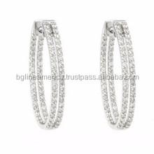 High Quality Fashion Women Round Shape Zircon Two Row Cross Hoop Earring