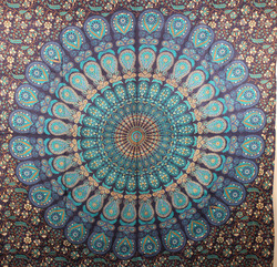 Indian mandala hippy blue tapestry dorm tapestry wall hanging