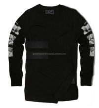elongated sweatshirts with bottom printin zip - fashion elongated t shirts - 2014 New Design Elongated T Shirt with Custom Label