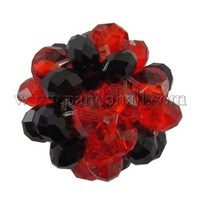 Red & Black Faceted Glass Beads Handmade Basketwork Round Ball Beads, about 14mm in diameter, hole: 2mm