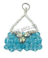 Cluster Crystal Pendants with Glass Seed Bead & Zinc Alloy Handbag platinum color plated kumihimo & handmade & faceted & with r