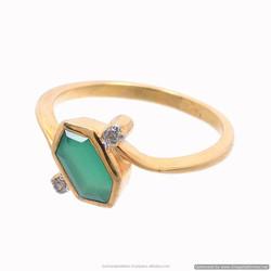 2-Micron GOLD 20k plated Natural Green Onyx & Diamond Rose Cut Stone Gemstone Fancy Shape gemstone Stud girl`s Bezel Set Ring