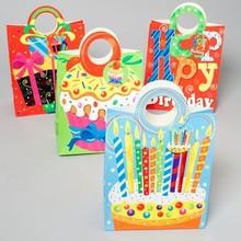GIFT BAG PAPER 4ASST BIRTHDAY W/DIECUT HANDLE 12X10X5 UPC LABL #G24751