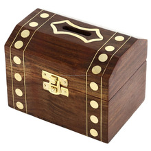 Handcrafted Wooden Box Treasure Chest Safe Money Bank /Wooden Box/Wooden Piggy Bank 2015