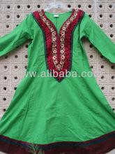 étnico bordado kurtis / kurtas larga tunicsGREEN túnicas bordados kurtis vestido occidental fusión étnica para las mujeres