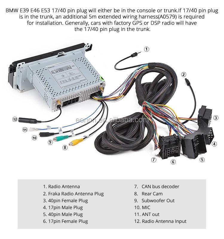 eonon a0579 17 pin 40 pin extended installation wiring harness for rh alibaba com BMW E46 M3 BMW E39