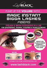 Magic Instant Bigga Lash and Brow 2 in 1 Eyelash and Brow Fibers in a jar