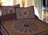 New Indian Floral Print With Kantha Work Bed Sheet, Ethnic Bedspread, Indian BedSheets